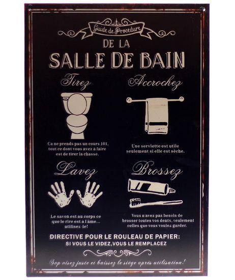 Plaque Guide procédures salle de bain