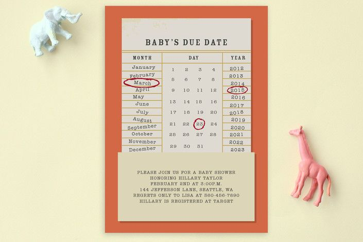 I love this baby shower invitation -- Due Date Postcard