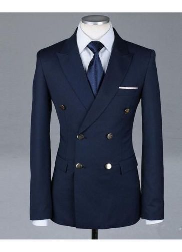 Formal Tuxedos Fashion Men Suits Custome Homme New Style Slim Fit(Jacket+Pant+Tie+Handkerchiefs)Navy Bule Double Breasted Suits #menssuitsnavy