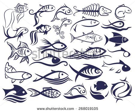 Set of logos of fishes. - stock vector