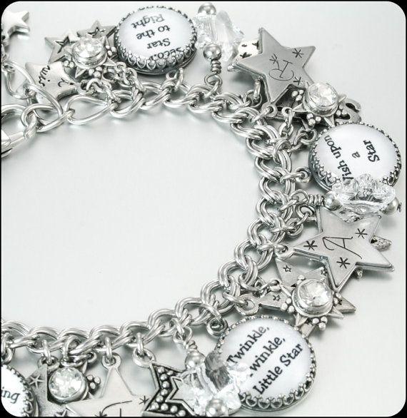 Silver Stars Charm Bracelets Twinkle Twinkle by BlackberryDesigns