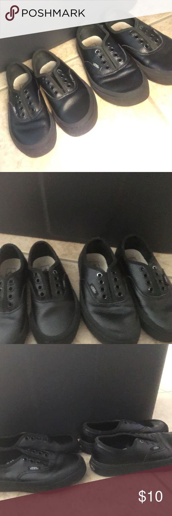 Kids black leather vans size 11 and 12 Used kids black leather vans size 11 and 12 don't have the laces Vans Shoes Sneakers