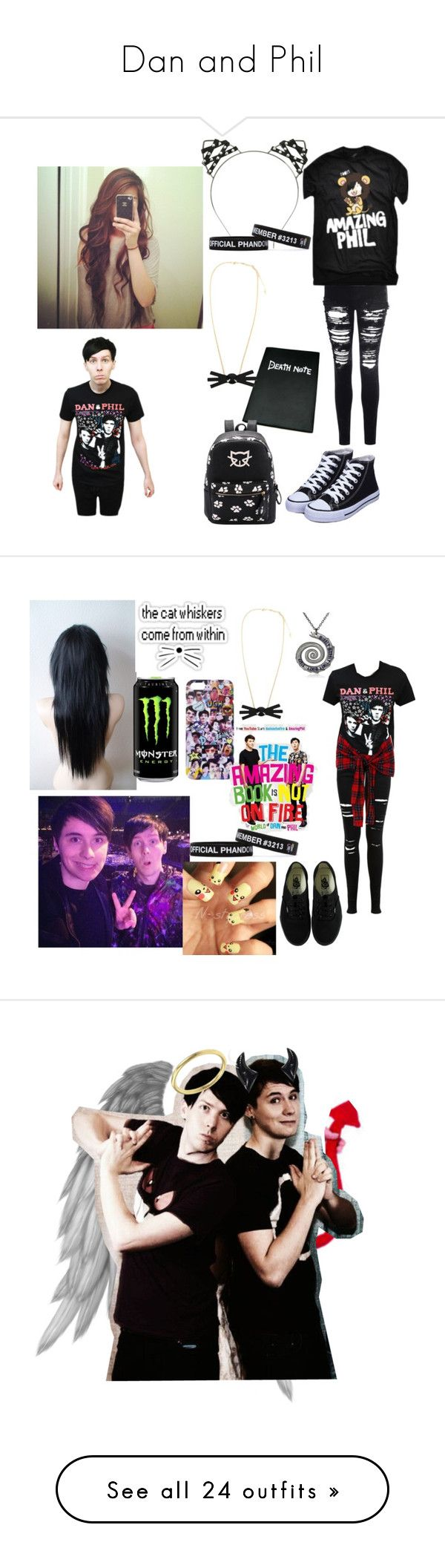 """Dan and Phil"" by thelastamericangirl ❤ liked on Polyvore featuring home, home decor, office accessories, Glamorous, Miss Selfridge, Vans, art, Madewell, Converse and AG Adriano Goldschmied"