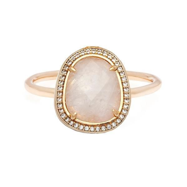 Holiday Gift Ideas for Couples - ad - Stone Slice Moonstone Ring