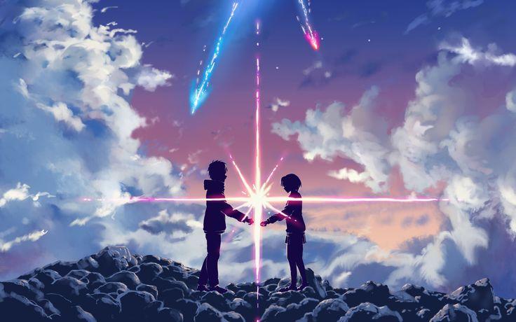 Anime Your Name.  Mitsuha Miyamizu Taki Tachibana Kimi No Na Wa. Fond d'écran