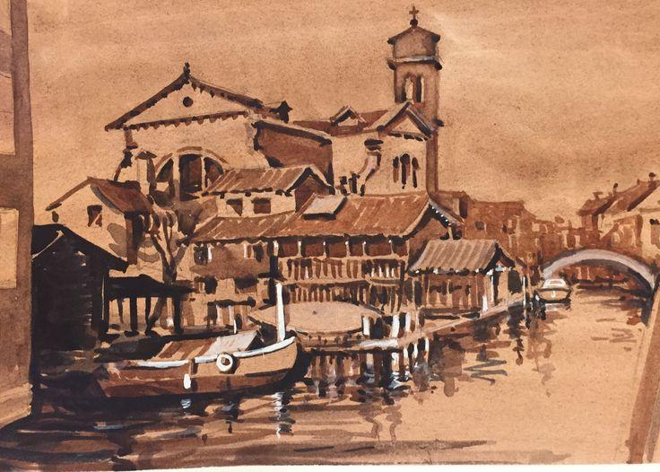 Venice sketch sepia