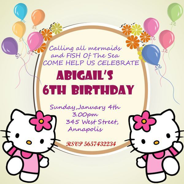 Hello Kitty 6th Birthday Invitation Template