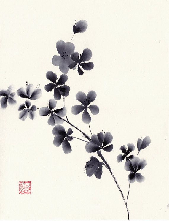 Original Black and White Watercolor Painting of by 3katdesign