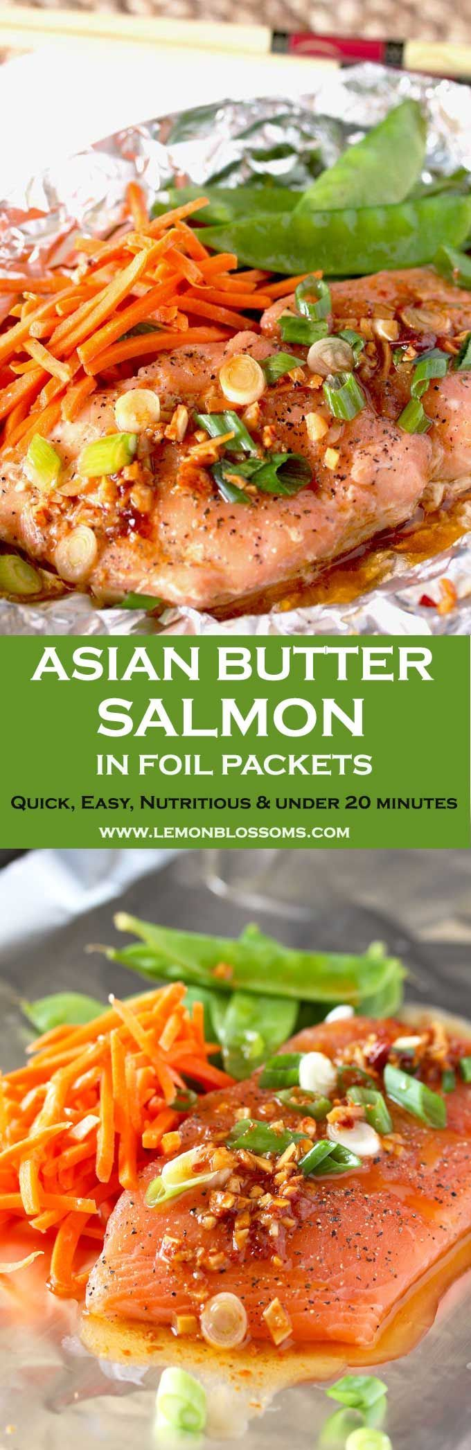 This Asian Butter Salmon is packed with Asian flavors! Light, easy, nutritious and ready in under 20 minutes! Simple ingredients and little clean up! #salmon #fish #cookinginfoil #Asian #easyrecipe  via @lmnblossoms