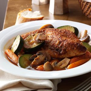 Savory Braised Chicken with Vegetables (I added white wine)