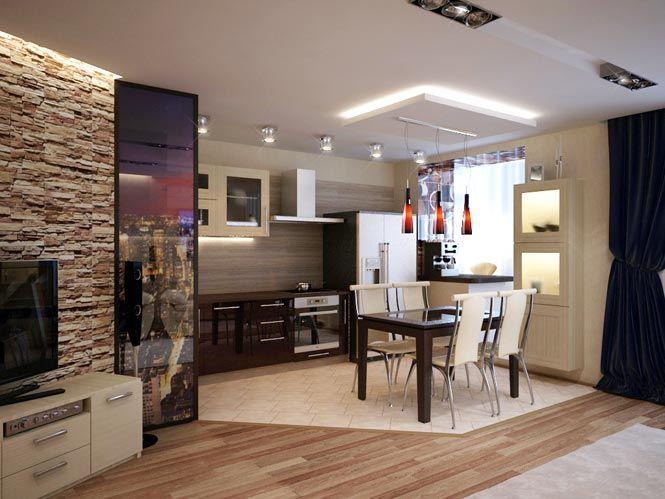 Гостиная-студия на                                       ул. Пионерской. Вид на кухню и                                       обеденную зону