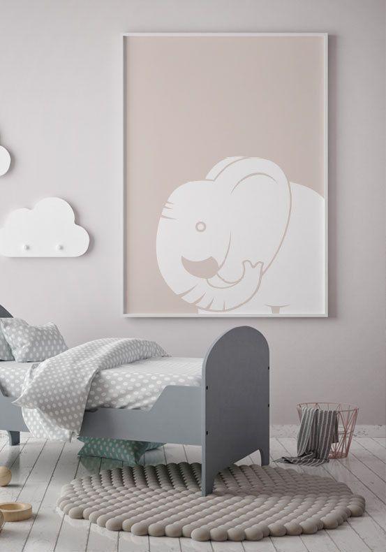 Barnposter med en elefant. Fina barntavlor och posters till ditt barnrum | Archiveseven.com