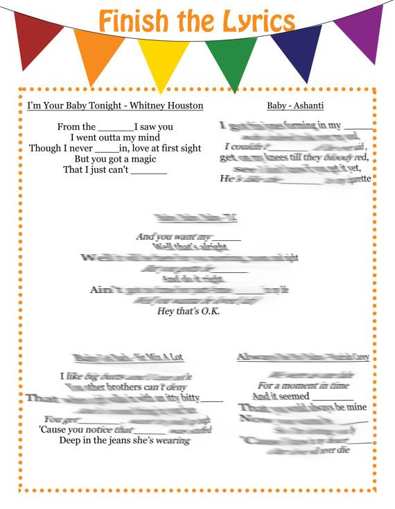 R&B and Hip Hop Finish The Lyrics Baby Shower Game by MimicKids
