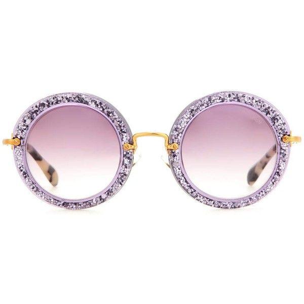 Miu Miu Round Sunglasses ($316) ❤ liked on Polyvore featuring accessories, eyewear, sunglasses, glasses, miu miu, purple, purple sunglasses, round sunglasses, glitter glasses and glitter sunglasses