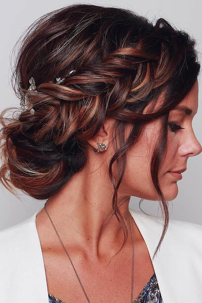 Wedding Hairstyles 2019 Elegant Royal Bun With Side Braid And Loose Curls Blush Wedding Hairstyles 2 In 2020 Hair Styles Curly Hair Styles Wedding Hairstyles