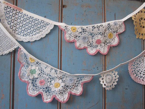 Vintage Doily Bunting.  Crochet Vintage  by buntingboutique