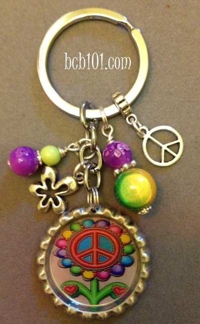 Peace and Groovy flower bottle cap key chain, 18.00