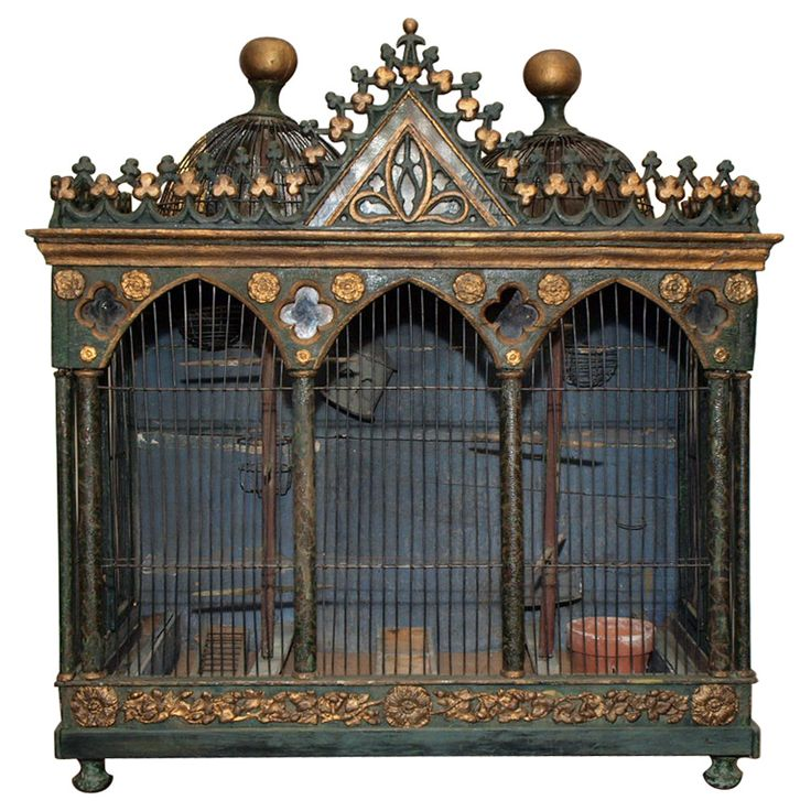 European 18th c Birdcage with hand forged iron and all the feeders etc. Original paint and gilt
