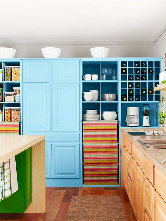 A Colorful, Storage Savvy Kitchen Makeover From Salvaged Finds