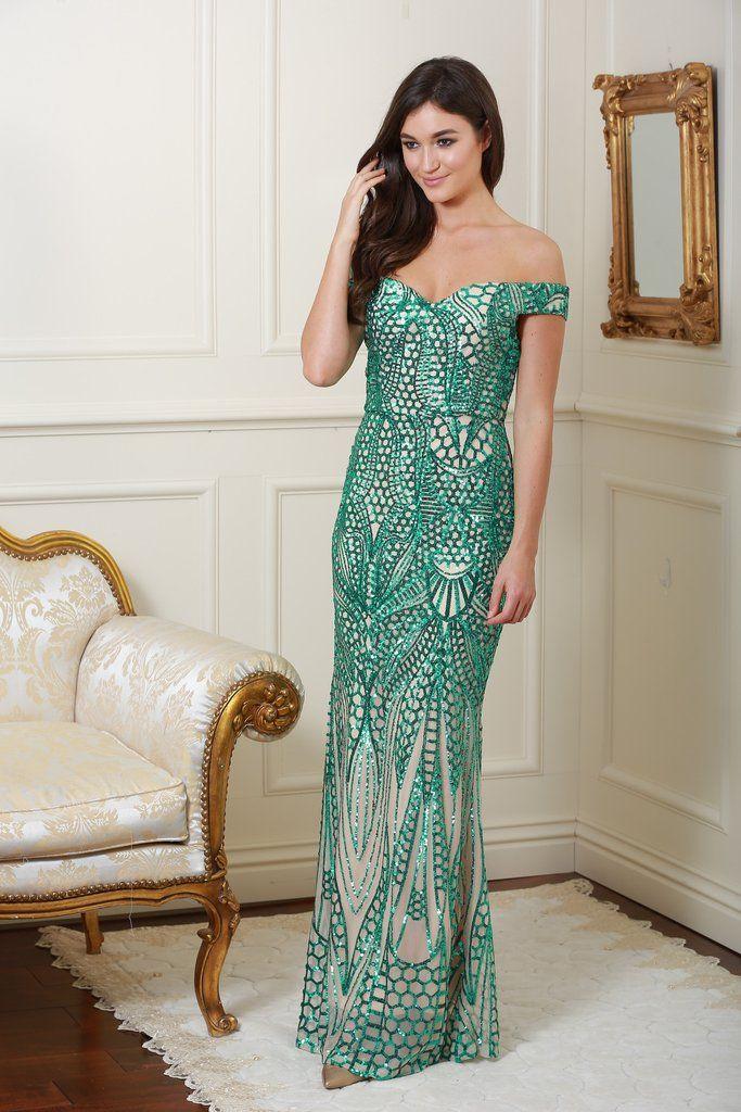 Mamie Embellished Emerald Green Maxi Dress