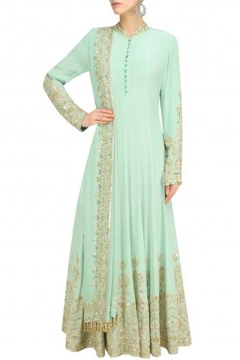 Anushka Khanna Mint Sequin Embroidered Anarkali and Churidaar Set #happyshopping #shopnow #ppus