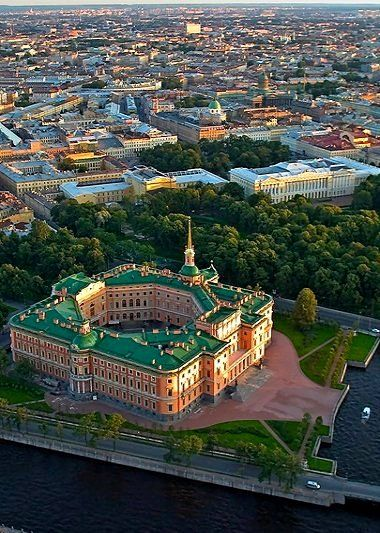 Aerial view of Mikhailovsky Castle in St. Petersburg, Russia