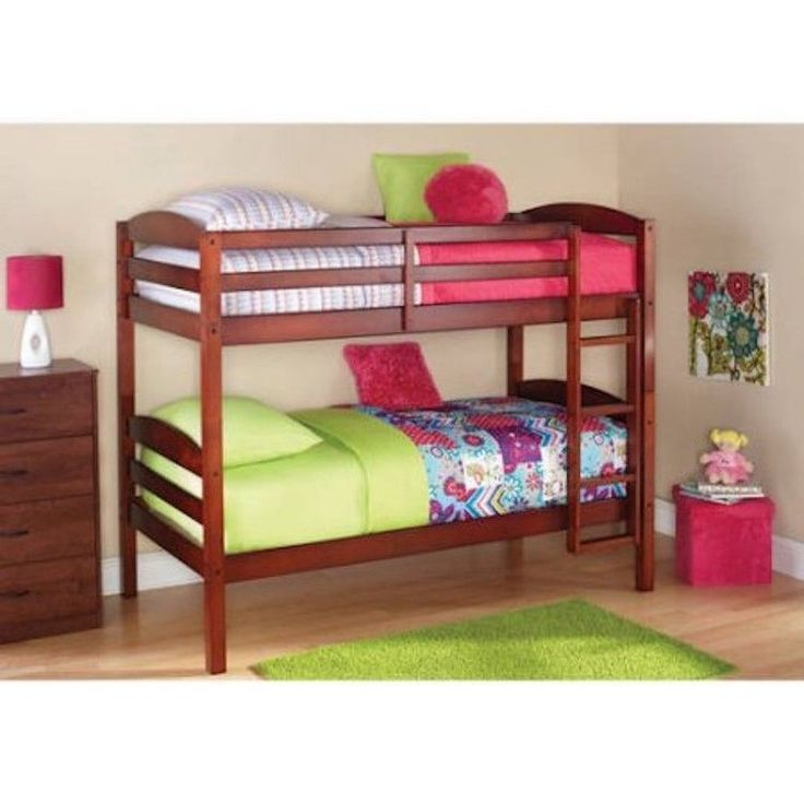 cherry twin bunk beds over twin sold wooden frame ladder kit kid bedroom