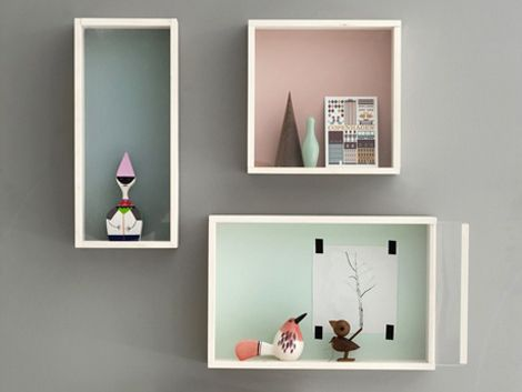 Here's a very simple way to decorate your home: three box shelves. Colour the back of it. Add your favourite items. Voila!