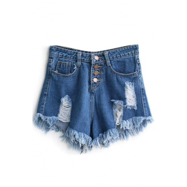 Blue Ripped Four Buttons Frayed Cuffs Denim Shorts ($30) ❤ liked on Polyvore featuring shorts, beautifulhalo, bottoms, cuffed shorts, destroyed jean shorts, denim shorts, distressed denim shorts and blue shorts