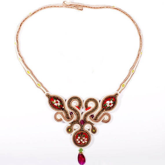 Oriental Silk and Silver- Soutache Necklace