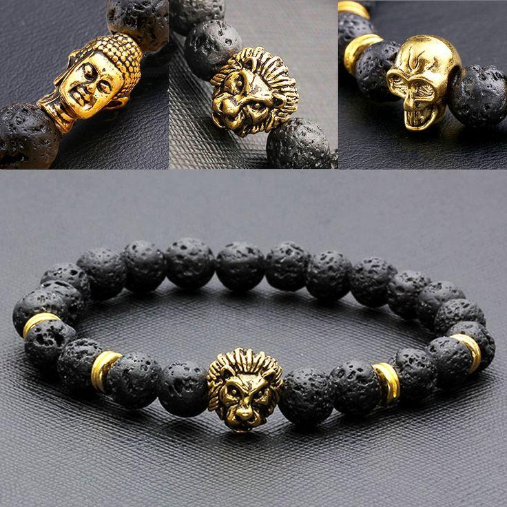 8mm Buda / Lion / Skull Mens Black Lava Rock Stone Beads Elastic Buddha Bracelet Bangle Northskull Armbanden Voor Vrouwen