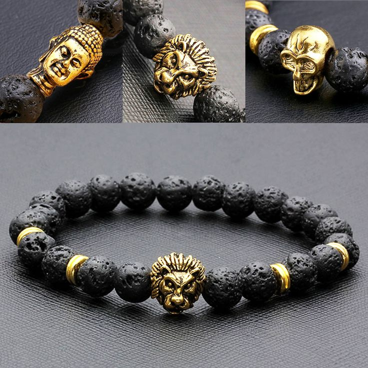 8mm Buda / Lion / Skull Mens Black Lava Rock Stone Beads Elastic Buddha Bracelet Bangle Northskull Armbanden Voor Vrouwen