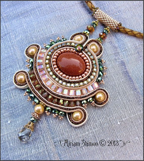 Gold Stone Soutache beaded necklace in Bronze by MiriamShimon