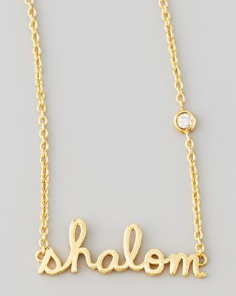 Shalom Necklace with Diamond, Golden by SHY by Sydney Evan at Bergdorf Goodman.