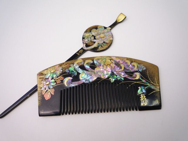 Japan, Kushi Kanzashi Black Lacquered, Hand Painted Gold with Mother of Pearl Inlay Comb and Stick Set