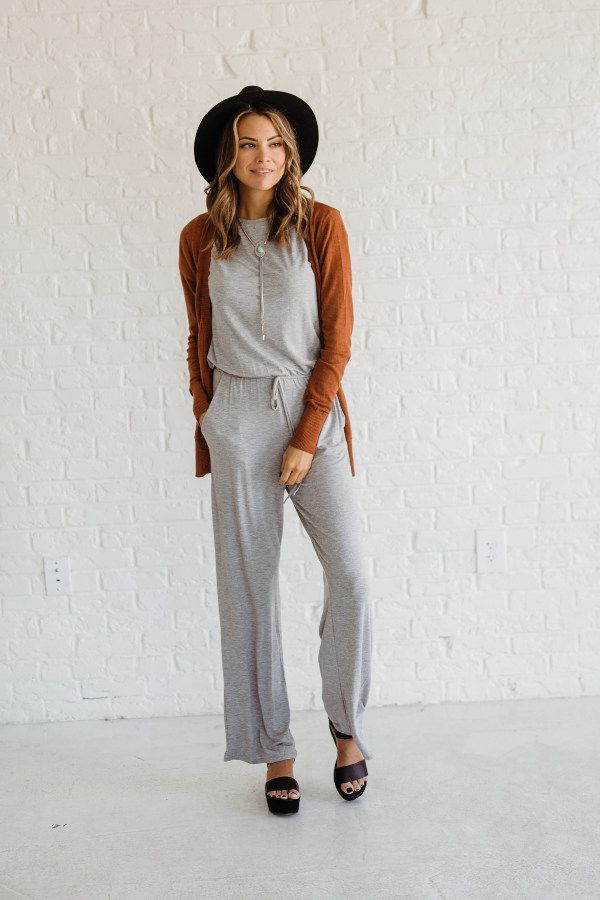 The Weekend in Paris Grey Jumpsuit is the perfect little piece to bring on that summer getaway you're planning! This piece is great for any occasion!