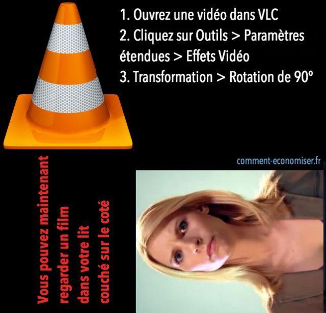 Voici un p'tit truc pour regarder un film couché sur le côté. Il vous suffit d'utiliser votre lecteur vidéo préféré, j'ai nommé VLC.  Découvrez l'astuce ici : http://www.comment-economiser.fr/regarder-un-film-couche.html?utm_content=bufferce75e&utm_medium=social&utm_source=pinterest.com&utm_campaign=buffer