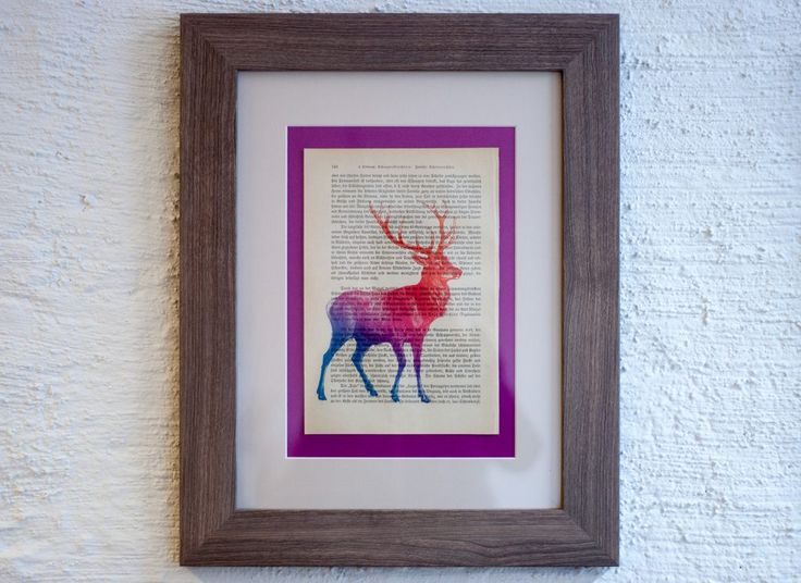 Print - Red Deer on Antique page