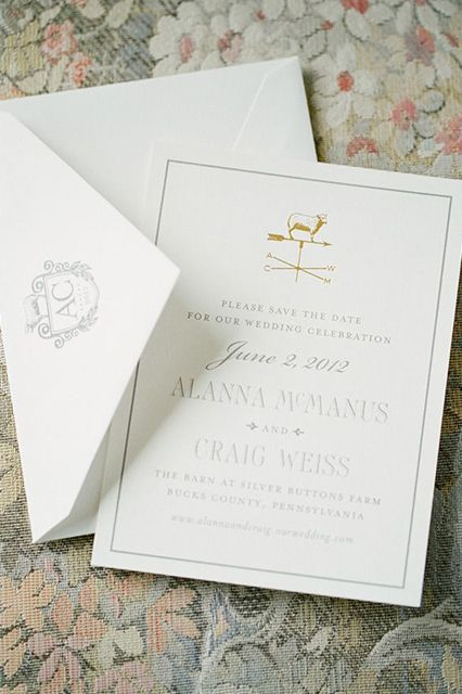 Save-the-dates by Cheree Berry Paper were foil-stamped with a weathervane. (Look closely: The arrows cleverly point to the couple's initials — A, M, C, W — not the cardinal directions.) A custom crest featuring their wedding date and monogram was used on invitations, postage, cocktail napkins, and matchbooks.