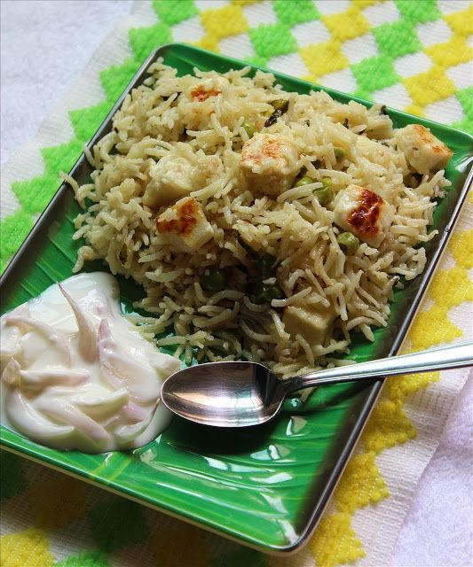 Paneer pulao recipe with coconut milk - Easy Lunch box recipe