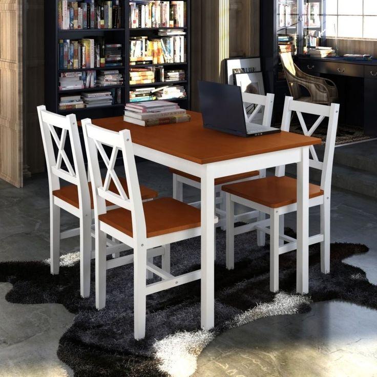 Holztisch Esstisch Sitzgruppe Esszimmer Esstischset Tischset Tisch + 4 Stück Neu
