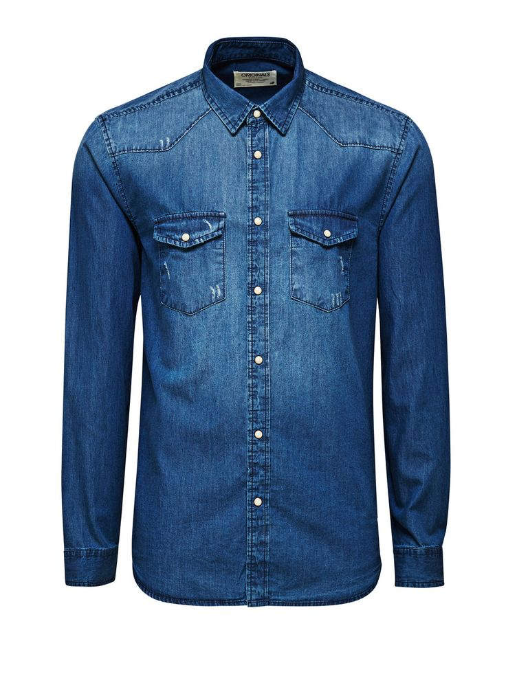 DENIM OVERHEMD, Dark Blue Denim