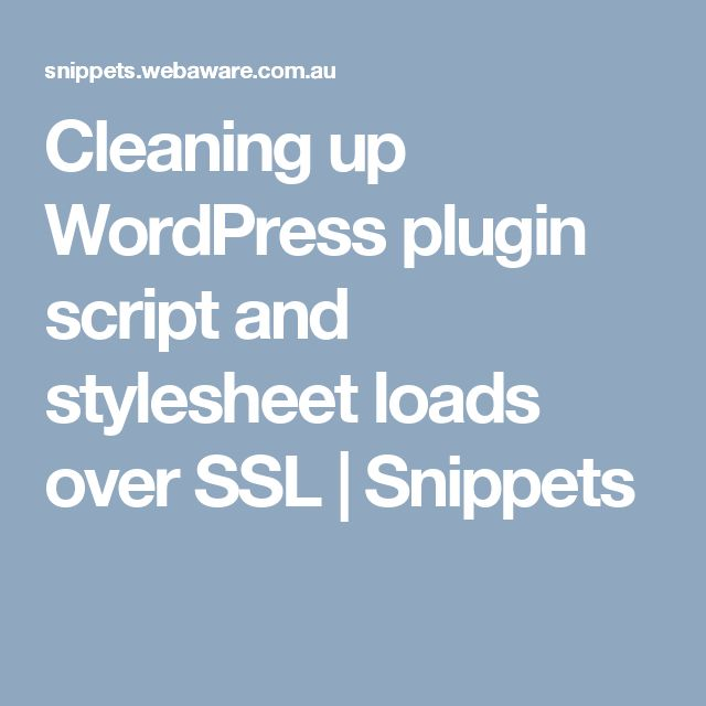 Cleaning up WordPress plugin script and stylesheet loads over SSL | Snippets