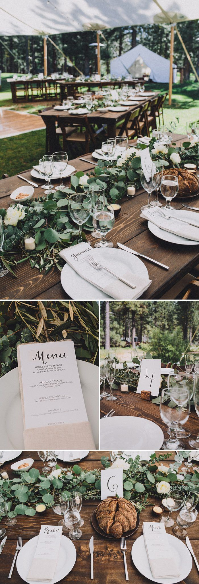 Gorgeous lush garland and dark wood tables match the organic + minimal vibe of this forest wedding reception | Image by Mandee Johnson Photography #weddingphotoinspiration #weddingphotoideas #forestwedding #centerpieces #reception #weddingreception #weddingreceptioninspo #receptioninspiration #receptiondecor #receptioninspo #finishingtouches #weddingdecor #tablescape #floraldesign