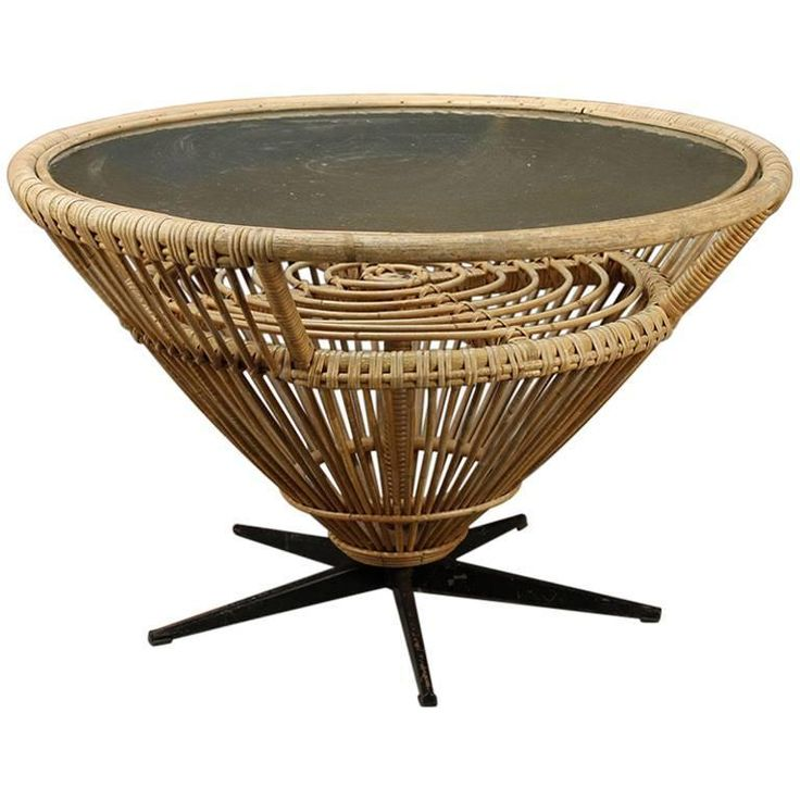 Mid-Century Bamboo Coffee Table | From a unique collection of antique and modern coffee and cocktail tables at https://www.1stdibs.com/furniture/tables/coffee-tables-cocktail-tables/