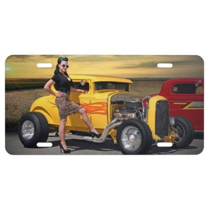 Sunset Graffiti Hot Rod Coupe Pin Up Car Girl License Plate - vintage gifts retro ideas cyo