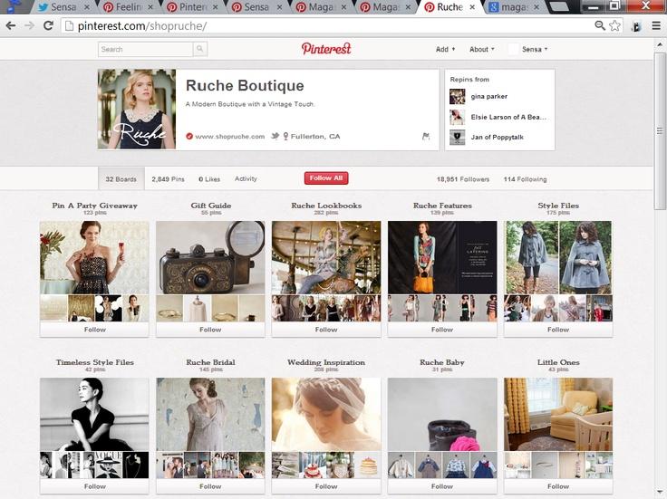 Ruche. Dit is een goed commercieel gebruik van Pinterest want alle verschillende stijlen op aparte borden zijn die goed gedefinieerd worden.  Er zijn ook borden voor speciale gelegenheden.    http://www.pinterest.com/shopruche/