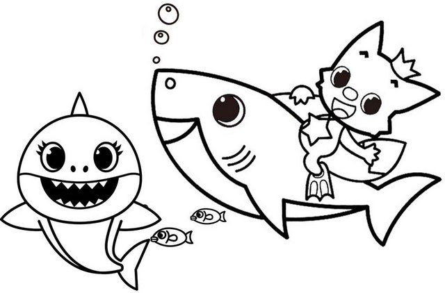 fun baby shark pinkfong coloring page for kids em 2020