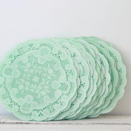 Mint paper doilies Mintgrønne kageservietter