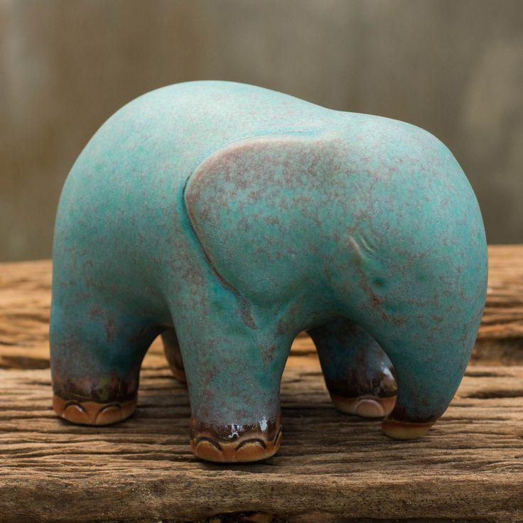 Mottled Turquoise Ceramic Figurine - Turquoise Elephant | NOVICA